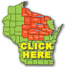 Northern Exposure Claims Service,Wisconsin Map,Graphic of Wisconsin,Fox Valley Web Design,Coverage Map,Wisconsin Territory