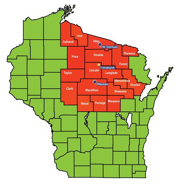 Map of Wisconsin by Fox Valley Web Design, Cover map of Northern Exposure Claims Service,Greg Peterson,claims investigator,wisconsin claims investigation